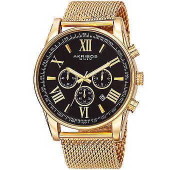 Akirbos XXIV AK813YGB Men's Swiss Quartz Chronograph Stainless Steel Mesh Strap Watch