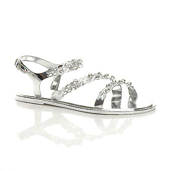 Ajvani Womens flat diamante strappy buckle summer jelly beach sandals