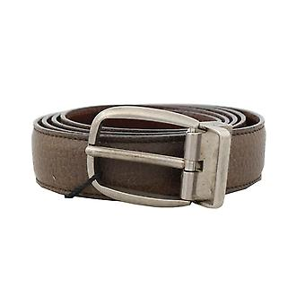 Dolce & Gabbana Brown Leather Gray Brushed Buckle Belt -- BEL5860208