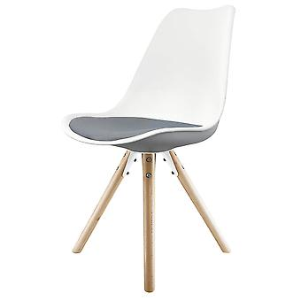 Fusion Living Eiffel Inspired White And Dark Grey Dining Chair With Pyramid Light Wood Legs