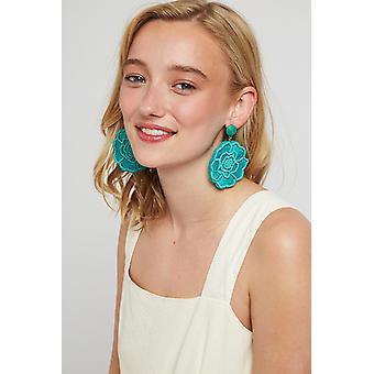 Louche Aquila Big Flower Earring Green