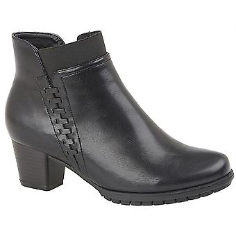 Ladies Womens Ankle Boots Zip Mid Heel Memory Foam Velvet Lined Shoes