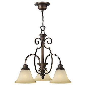 Cello Traditional 3 Arm Chandelier with Scrolls and Alabaster Glass