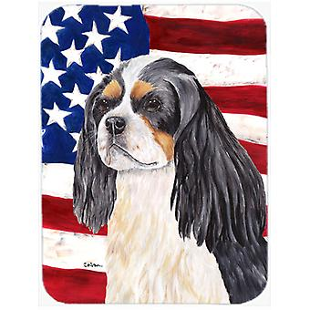 USA American Flag with Cavalier Spaniel Glass Cutting Board Large