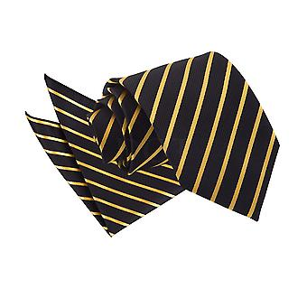 Single Stripe Black & Gold Tie 2 pc. Set