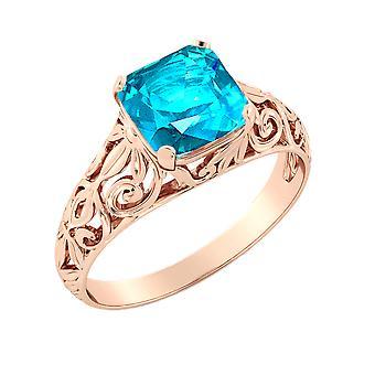 14K Rose Gold 2.00 CT Blue Topaz Ring Vintage Art Deco Filigree