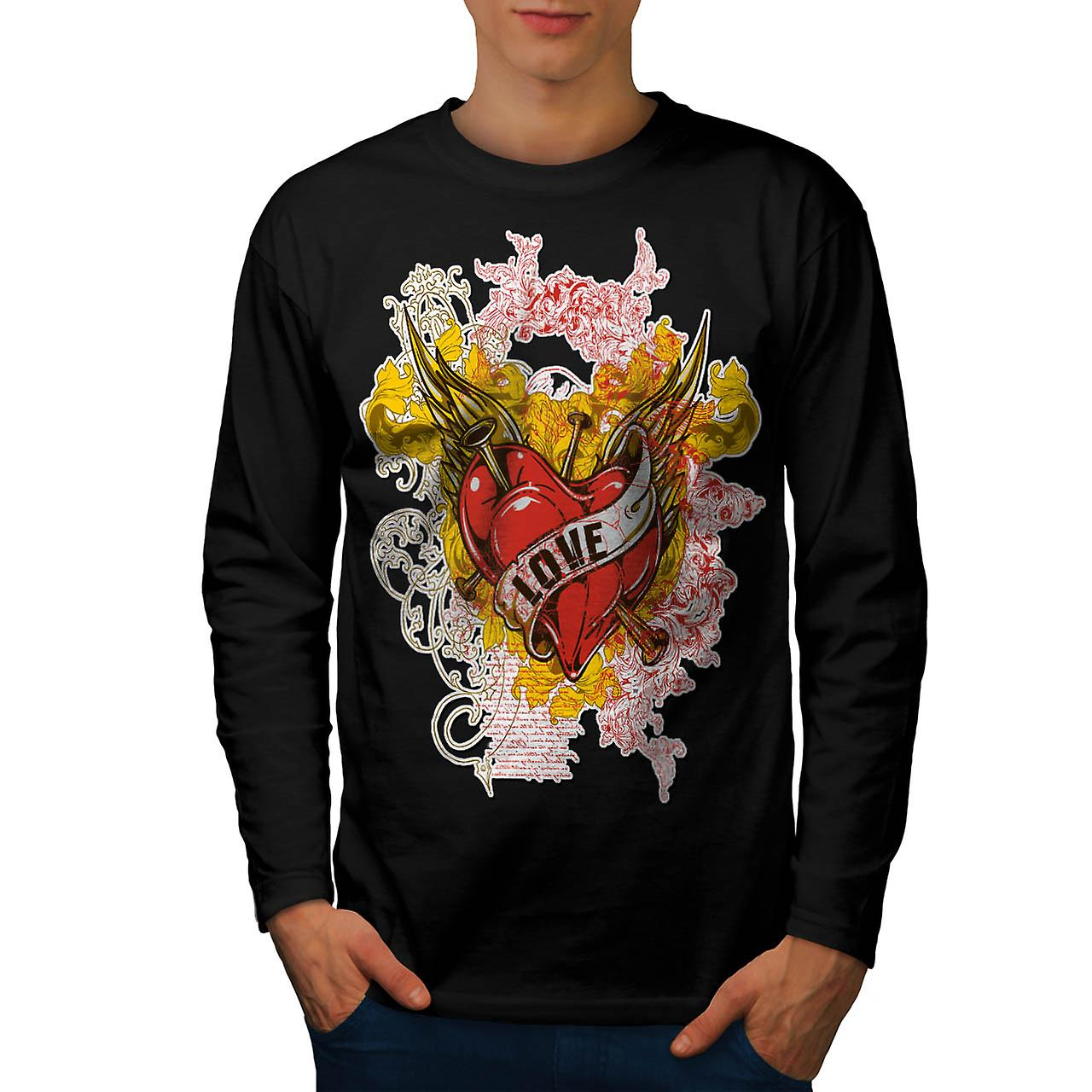 Love Heart Horror Romantic Lust Men Black Long Sleeve T-shirt | Wellcoda