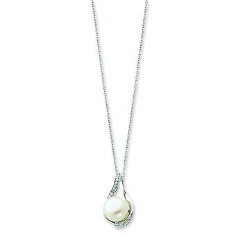 Sterling Silver Freshwater Cultured Pearl and CZ Necklace - 18 Inch