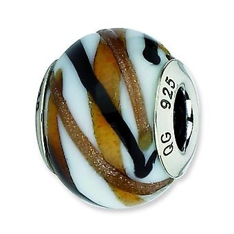 Sterling Silver Reflections White Brown Black Italian Murano Bead Charm