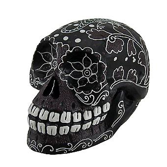 Dot Painted Wooden Sugar Skull Statue with Lizard Design 7 Inch
