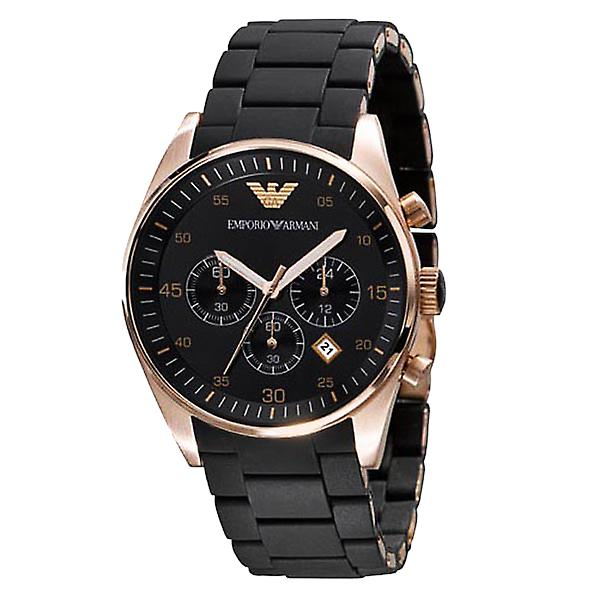 Emporio Armani AR5905 Black & Gold Sports Silicone Chronograph Watch
