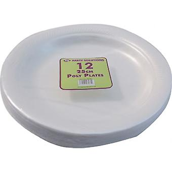 25cm 12pcs Polystyrene Plates Disposable Foam Party Serving Plate