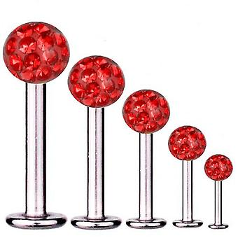 Labret Bar Tragus Piercing Titan 1,6 mm, Multi Kristall Kugel rot | 5 - 16 mm