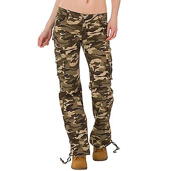 Wide Camouflage Cargo Pants - Green