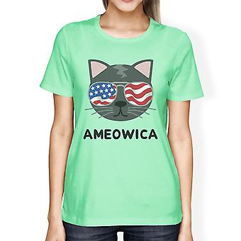 Ameowica Womens Mint Graphic Cotton T-Shirt Cute Cat Lover Tee