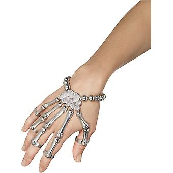 Skeleton glove silver bracelet Halloween