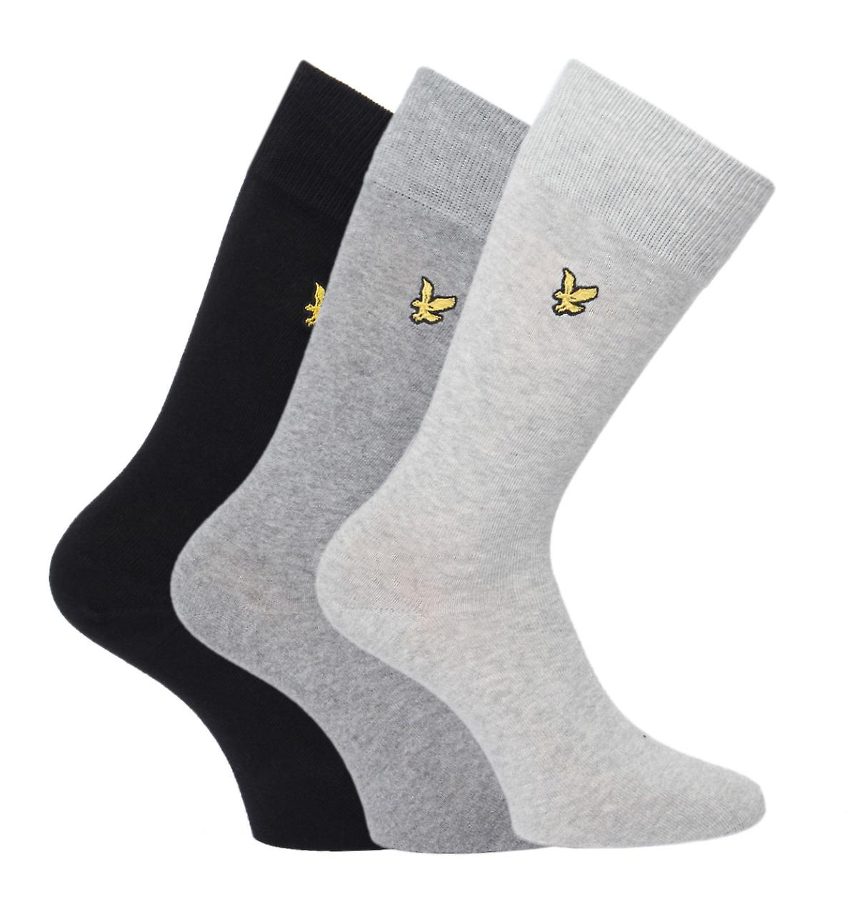 Lyle & Scott Black, Mid Grey & Light Grey 3 Pack Stretch Cotton Socks
