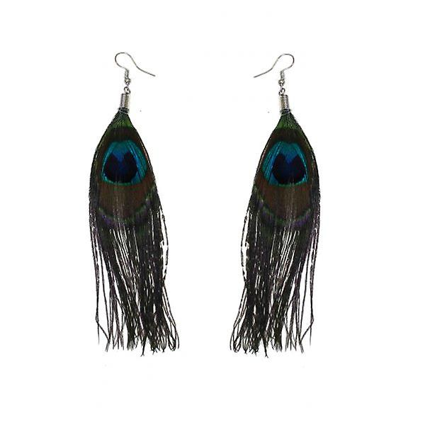 W.A.T Real Peacock Real Feather Fashion Earrings