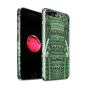 STUFF4 Gloss Hard Back Snap-On Phone Case for Apple iPhone 7 Plus / Elephant-Green Design / Aztec Animal Design Collection