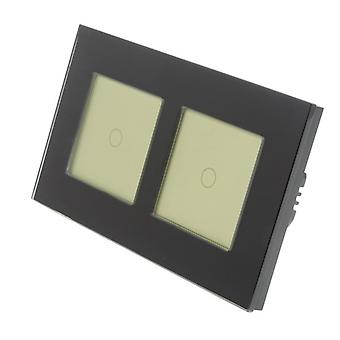 I LumoS Black Glass Double Frame 2 Gang 1 Way Remote & Dimmer Touch LED Light Switch Gold Insert