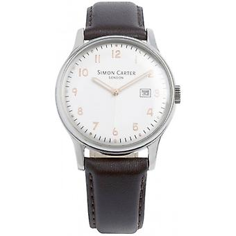 Simon Carter Raised Numerals Watch - White/Dark Brown
