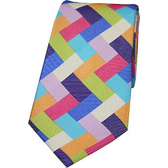 Posh and Dandy Rectangle Shapes Silk Tie - Multi-colour