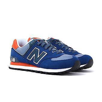 New Balance 574 Royal Blue & Orange Suede Trainers