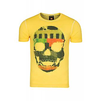 RUSTY NEAL skull shirt mens shirt yellow with picture