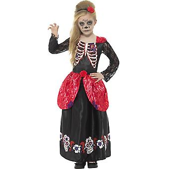 Smiffys Deluxe Day Of The Dead Girl Costume Black With Dress & Headband (Costumes)