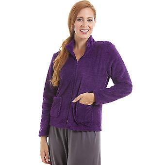 Camille Womens Zip Front Purple Soft Fleece Bed Jacket