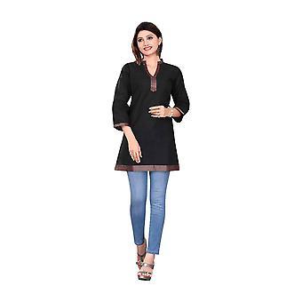 Negro manga 3/4 indio Kurti/túnica de algodón con escote de oro