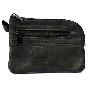 Mens Ladies LARGE Soft REAL Leather Coin Purse - Key Case TWO Zips