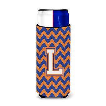Letter L Chevron Blue and Orange Ultra Beverage Insulators for slim cans