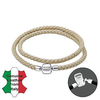 Plaine - en argent Sterling 925 + Bracelets de perles pour le cordon en cuir - W22513X