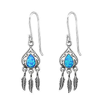 Teardrop Earring With Hanging Feather - 925 Sterling Silver Opal and Semi Precious Earrings - W31393X