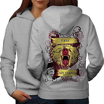 Here We Stand Wild Animal Women GreyHoodie Back | Wellcoda