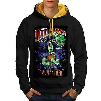 Halloween bruja terror hombres negro con capucha de contraste (campana de oro) | Wellcoda