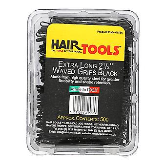 Hairtools Extra lang 2,5 Zoll winkte Griffe schwarz