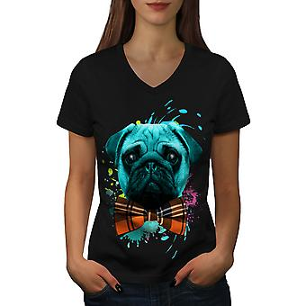 Sad Fancy Pug Puppy Women BlackV-Neck T-shirt | Wellcoda