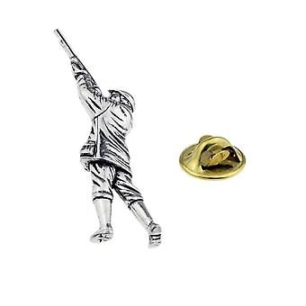 Gamekeeper Pewter Lapel Pin Badge, Shooting