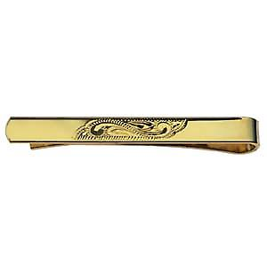 Hard Gold plated 6x55mm Hand engraved Tie Slide