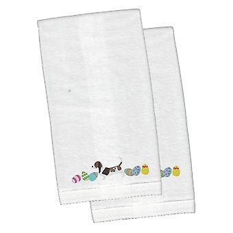 Basset Hound Wielkanoc biały haftowany pluszowe Hand ręcznik zestaw 2