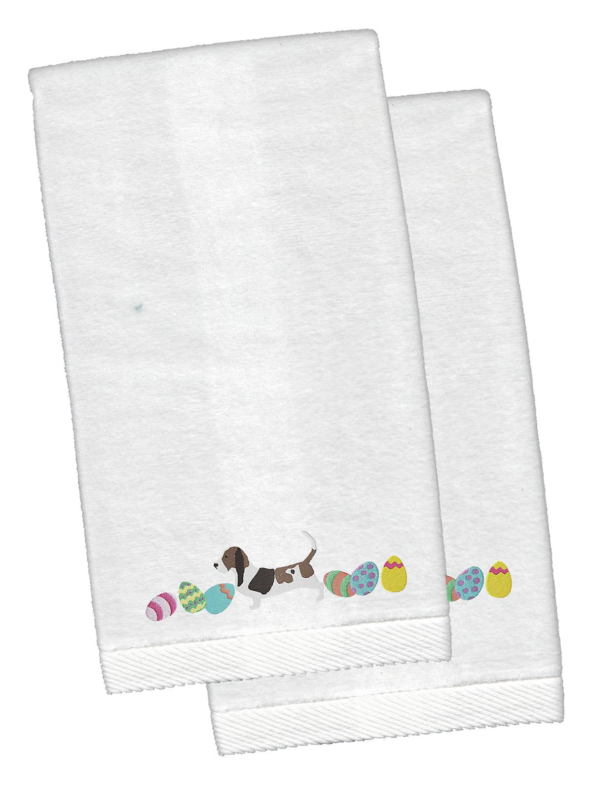 Basset Hound Easter White Embroidered Plush Hand Towel Set of 2