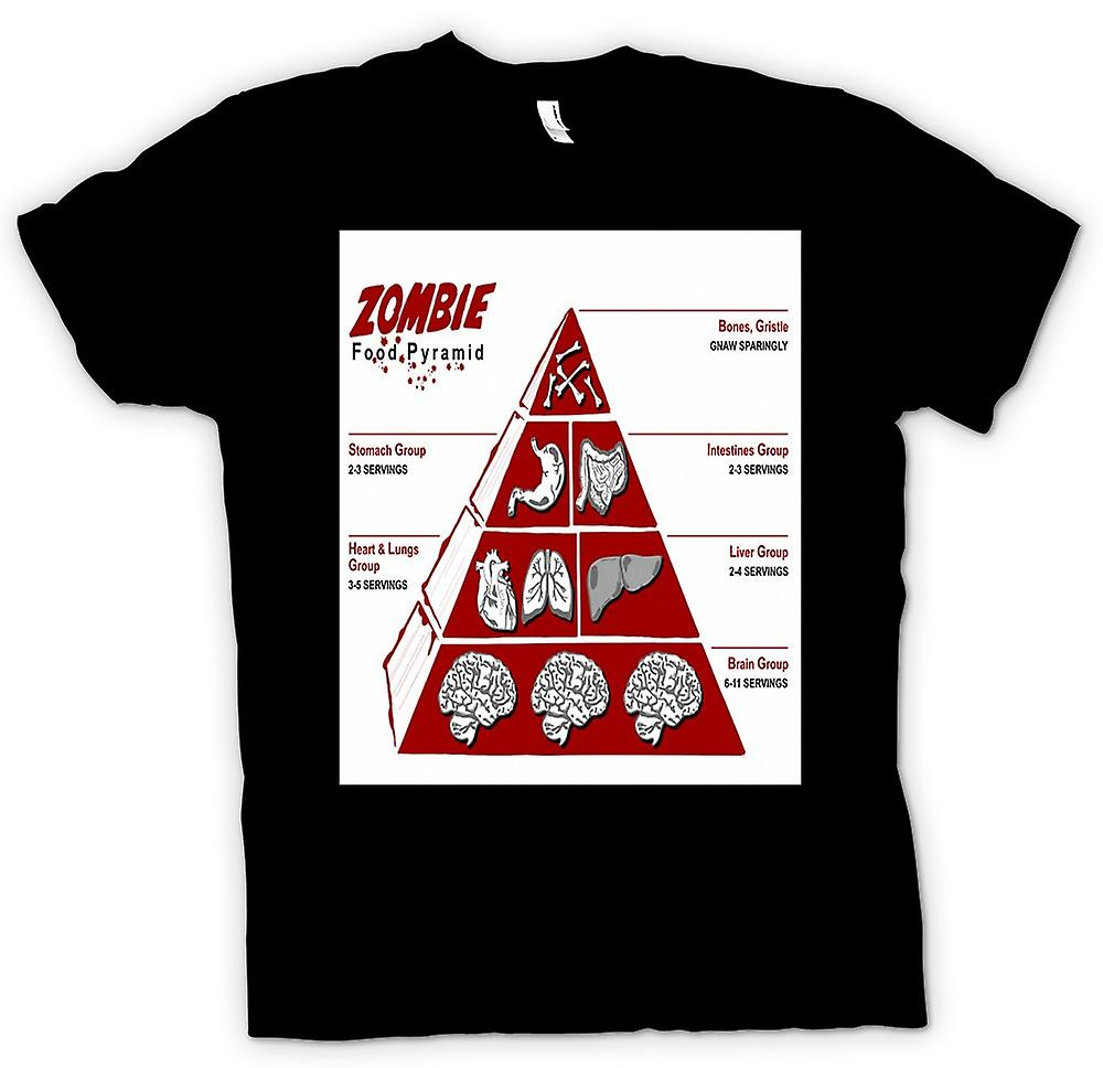 Mens T-shirt - Zombie Food Pyramid - Funny