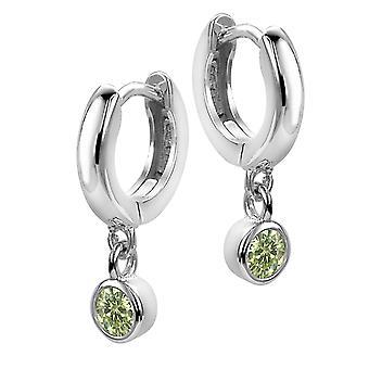 Orphelia Silber 925 Kinder Ohrring Hoop + Kreis grün Zirc ZO-6075/1