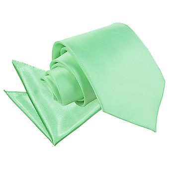 Mint Green Plain Satin Tie & Pocket Square Set