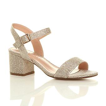 ca8ad9e4fc52 Ajvani womens mid low block heel peep toe ankle strap strappy party sandals