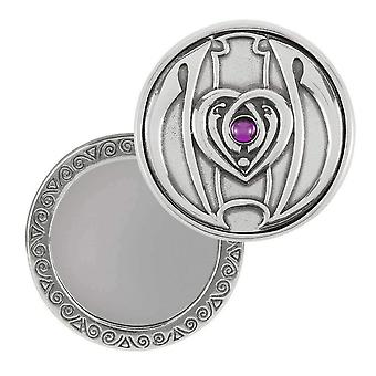 Orton West Deco Heart Compact Mirror - Silver/Pink