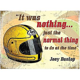 Joey Dunlop hjelm / Quote store Metal signere 400 X 300 Mm