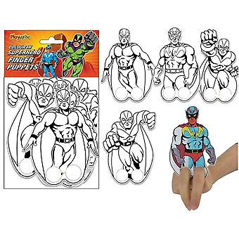 12 Colour Your Own Superhero Finger Puppets | Superhero Crafts for Kids